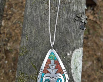 Large Southwestern Sterling Silver Turquoise & Coral Inlay Pendant Necklace