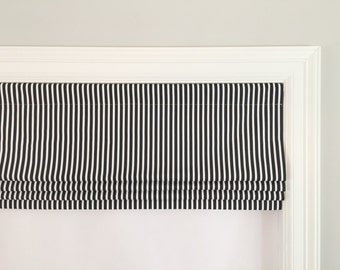 Faux (fake) flat roman shade valance.  Your choice of fabric (up to 10 dollars/yard) included!  Custom Sizing. Carrie Stripe Black/White