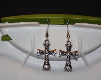Sparkly Cross Earrings