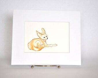 Original Watercolor Fennec Fox