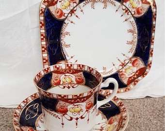 Royal Vale Longton Imari fruits and flowers pattern trio - 3702-teacup, saucer and side plate.