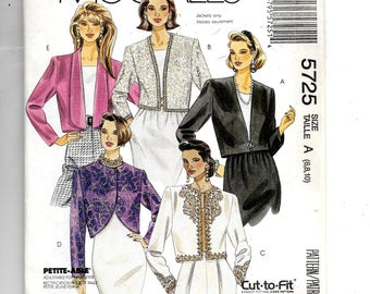 McCall's Misses' Cropped Partially Lined Jackets Pattern 5725