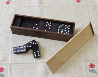 Vintage Double Six Dominoes with Custom Box, Halsam Dragon Dominoes