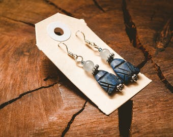 Lapis Lazuli, Stone, Crystal, Fish, Boho, Ocean, Sea, Nature, Gift, Earrings, Bead, Sterling Silver, Beach, Blue Agate, Blue Stone