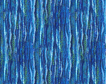 Water Garden by Northcott Fabrics - Blue Water Stripes - Cotton Woven Fabric