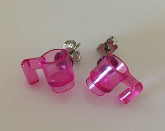 Coffee lovers pink mug earrings built of LEGO ® bricks