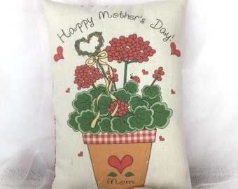 Mothers Day Accent Pillow | Red Geraniums | Pink Geranium | Gift for Mothers Day |