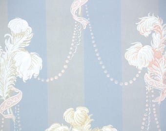 1940s Vintage Wallpaper by the Yard - Pink White and Yellow Feathers and Ribbons on Pink Gray Blue Stripes