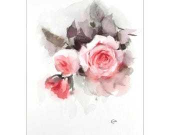 Garden Roses - Original Watercolor Painting 9x12 inches Flowers Mother's Day