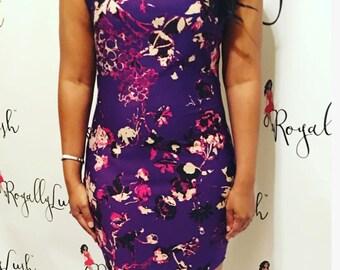 Purple Rain Floral Bodycon Dress