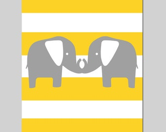 Striped Elephants Silhouette - 8x10 Nursery Art Print - Kids Wall Art - Twins - As Seen in PREGNANCY & NEWBORN MAGAZINE - Choose Your Colors