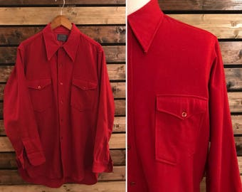 60's Pendleton Wool button up shirt - Mens - Made in USA