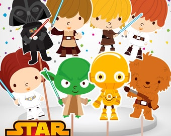 Printable. 10 Star Wars Centerpieces Double sided, Star Wars Cake Toppers, Star Wars Party, Star Wars Baby, Instant Download