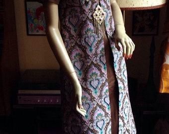 Original 1960s QUAD designer medieval princess brocade hippie maxi dress uk 6 8 us 2 4 xs s