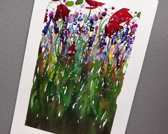 Wildflowers and Blossoms original watercolour painting. A4.
