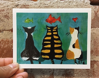 Dreaming Cats Card - Kitty Card - Three Cats with Fish -Blank Inside - Gift for Cat Lover - Cat Greeting Card
