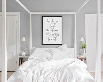 Bruno Mars Quote | Lyrics Quote | And When You Smile The Whole World Stops And Stares for a While | Large Printed Wall Art | Love Quote