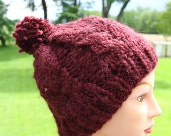 burgundy knit beanie