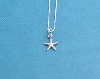 """Little girl's starfish necklace in sterling on 14"""" sterling silver box chain.  Little girl's jewelry.  Little girl's necklace.  Sterling."""
