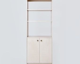 NEW // Bookcase and Media Cabinet Made of Wood Veneer with White Wash Finish. Contemporary Style with Two Doors and Adjustable Shelves.
