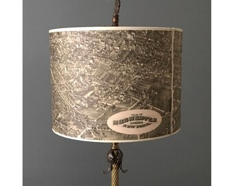 """10"""" Drum Lamp Shade- Historic Map of Monroe County and Rochester, NY"""