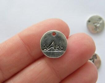 BULK 50 Mountain range charms antique silver tone WT234