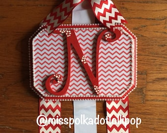 Bow Holder- Red and white Chevron Bow Holder