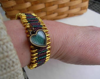 Green and Mauve Beaded Safety Pin Bracelet