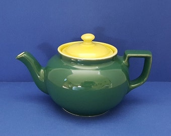 Vintage Dark Green Teapot With Yellow Top by Hall 1950's