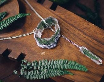 Fern necklace resin necklace Geode slice resin pendant crystal point im green