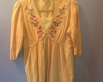 vintage, india cotton dress, mustard yellow, hand embroidered flowers, hippie dress, lace, gorgeous soft cotton