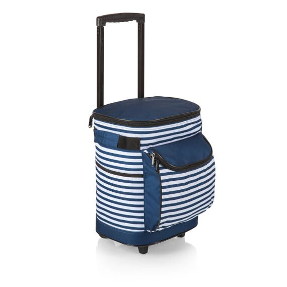 Cooler on Wheels in Blue and White Stripe