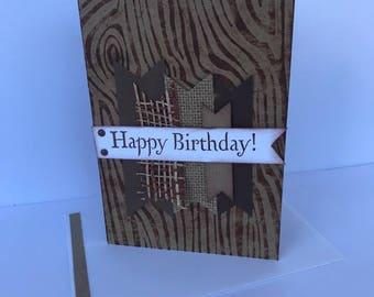 Handmade Birthday Card, Masculine Card, Masculine, Wood grain Card