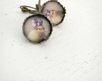 Earrings Antique Bronze Chick in A Purple Ribbon Hat Leverback Earrings