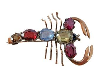 Antique Victorian Novelty Lobster Brooch W Gems, Gold (#4279)