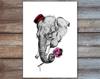 Elephant Art, Elephant Print, Love Art, Elephant Decor, Love Decor