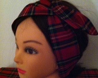 Red royal stewart tartan headband