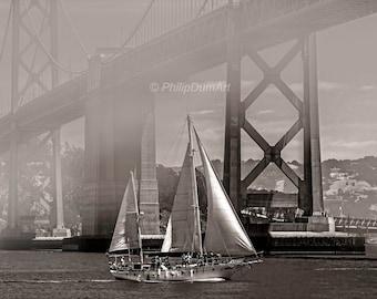 Sailboat under Bay Bridge, San Francisco bay, USA, California, fine art photography, black & white, bridge, nautical scape, sailing boat