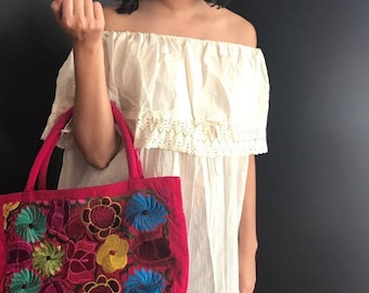 off shoulder mexican blouse / Mexican embroidered blouse / Mexican top /