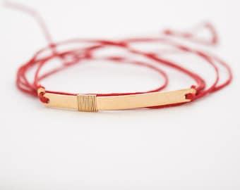 wrap bracelet // gold bar wrap bracelet, anklet, red cord bracelet, red cotton cord wrap bracelet