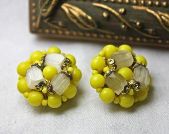 Vibrant Vintage Yellow and White 1950s Cluster Earrings, c1950s, Yellow Clip On Earrings, Retro Yellow Earrings, Vibrant Cluster Earrings
