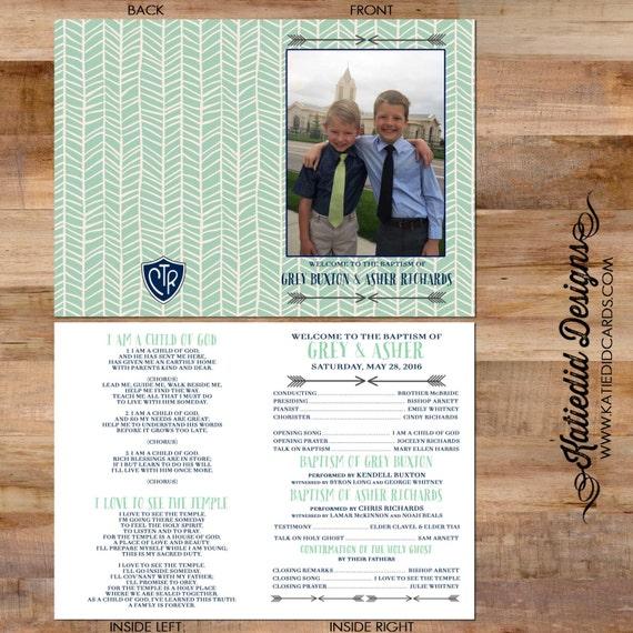 Mormon baptism program LDS christening tribal arrow herringbone child's photo great to be 8 great digital printable 714 Katiedid Designs