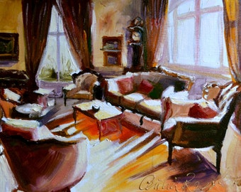 FRENCH INTERIOR ART print of an original painting by Cecilia Rosslee,sitting room. Sunlit room. Provincial room.