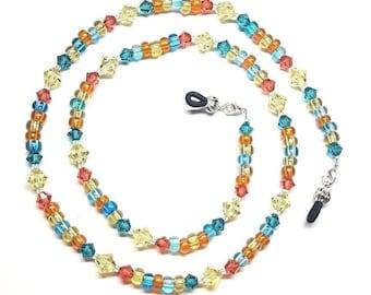 Oceans & Sunset Swarovski Crystal Bead Mix Eyeglass Chain Holder
