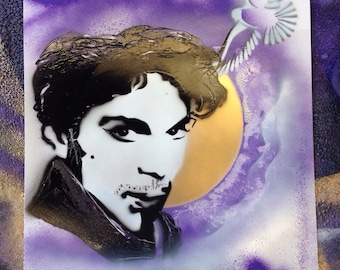 """Prince tribute spray paint art 11x14"""" doves cry"""