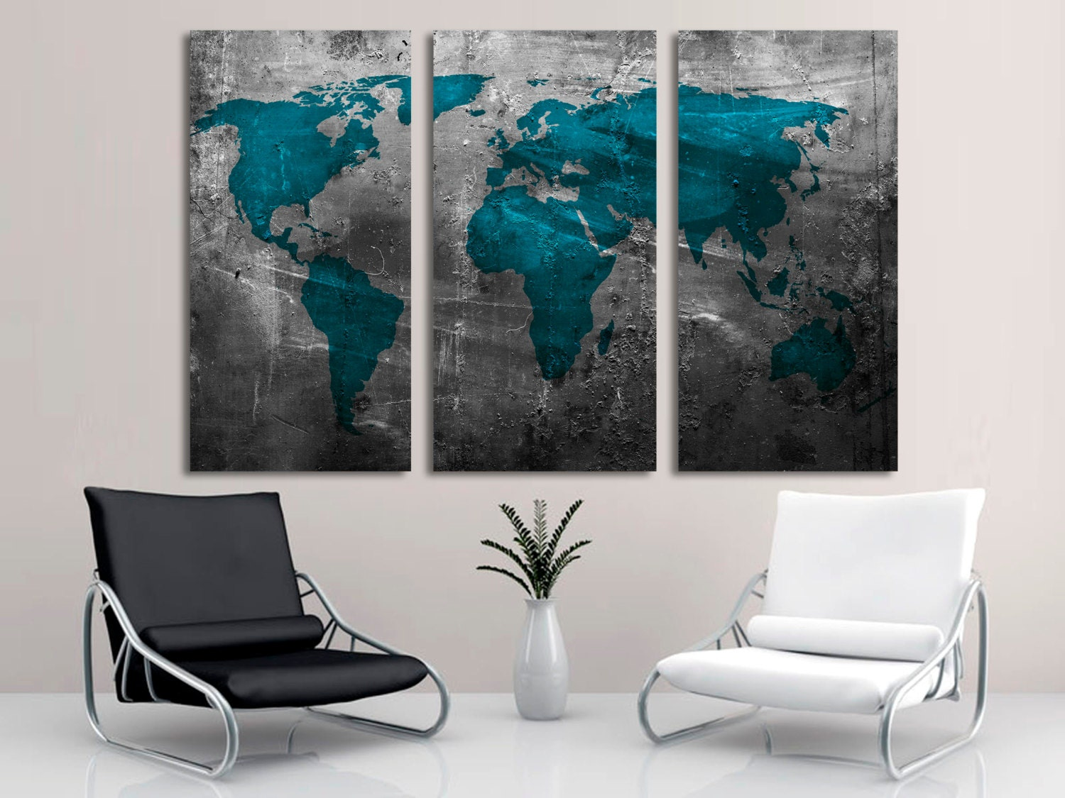 3 panel wall art wall plate design ideas 3 panel wall art abstract teal world map canvas print wall art 3 panel split gumiabroncs Gallery