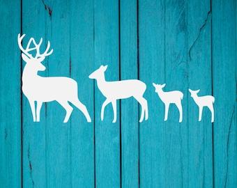 Deer Family Car Decal | Family Car Decal | Buck Does Fawns Vinyl Car Decal