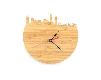 Charlotte Skyline Clock - Cherry and Walnut Modern Wall Clock