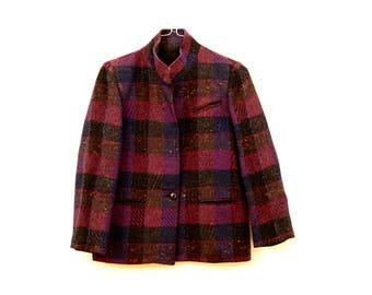 Bianca Jeweltone Plaid 70s Blazer Jacket Size 8 *Flat Rate Shipping* [Cute Vintage Sportscoat Coat Officewear Women's Size Small]