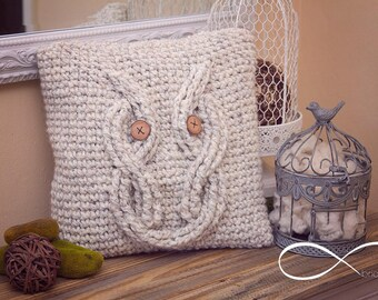 Infinity Crochet Owl Pillow Pattern. New and excited Infinity Crochet Method! Crochet Pattern with Chart for Crochet Cables, Home Decor